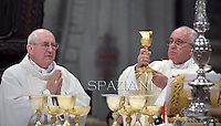 Pope Francis Cardinal  Agostino Vallini,during a priests ordination ceremony in St Peter's Basilica at the Vatican.  on May 11, 2014