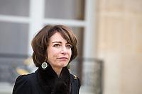 MARISOL TOURAINE , MINISTRE DE LA SANTE ET DES AFFAIRES SOCIALES QUITTE LE PALAIS DE L'ELYSEE APRES LE CONSEIL DES MINISTRES DU 11 JANVIER 2017 A PARIS.