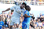 Getafe CF's Allan Nyom (r) and Real Madrid's Dani Carvajal during La Liga match. January 4,2020. (ALTERPHOTOS/Acero)