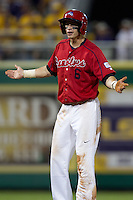 Stony Brook Seawolves outfielder Travis Jankowski #6 questions the umpire after being called out for interference during the NCAA Super Regional baseball game against LSU on June 10, 2012 at Alex Box Stadium in Baton Rouge, Louisiana. Stony Brook defeated LSU 7-2 to advance to the College World Series. (Andrew Woolley/Four Seam Images)