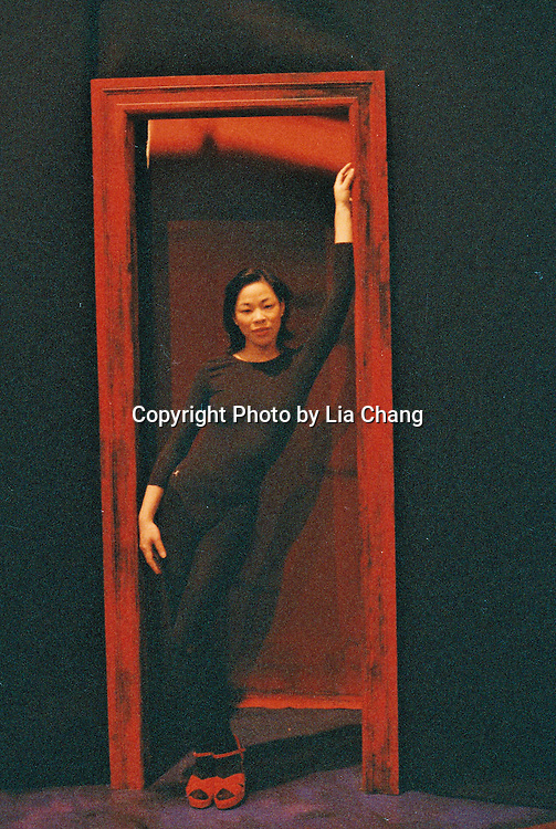 Signature Theatre Company production of Sam Shepard's Chicago at The Public Theatre in December 2000. Lia Chang  on the set.  Photo courtesy of Lia Chang Archive