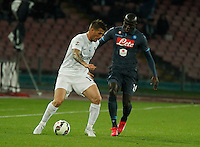 German Gustavo Denis   Kalidou Koulibaly  during the Italian Serie A soccer match between   SSC Napoli and Atalanta  at San Paolo  Stadium in Naples ,March 22 , 2015<br /> <br /> <br /> incontro di calcio di Serie A   Napoli -Atalanta allo  Stadio San Paolo  di Napoli , 22  Marzo 2015