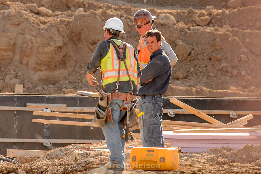 Trent Nelson  |  The Salt Lake Tribune<br /> Workers from Phaze Concrete on the construction site of the new Rawlins High School in Rawlins, Wyoming, Tuesday June 30, 2015.