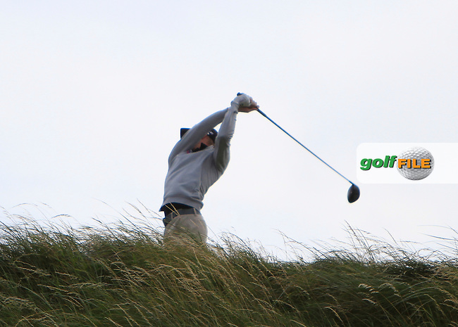 Simon Ward (Co. Louth) on the 9th tee during the South of Ireland Amateur Open Championship Quarter Finals at Lahinch Golf Club  30th July 2013 <br /> Picture:  Thos Caffrey / www.golffile.ie