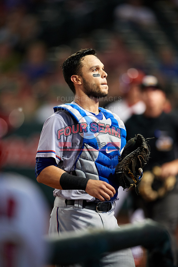 Round Rock Express catcher A.J. Jimenez (6) during a game against the Memphis Redbirds on April 28, 2017 at AutoZone Park in Memphis, Tennessee.  Memphis defeated Round Rock 9-1.  (Mike Janes/Four Seam Images)