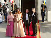 United States President Barack Obama and First Lady Michelle Obama welcome Stefan Lofven, Prime Minister of Sweden (2nd right) and spouse Ulla Lofven (left) as they arrive May 13, 2016 at The White House in Washington, DC to attend a State Dinner while participating in the U.S.- Nordic Leaders Summit. <br /> Credit: Chris Kleponis / CNP