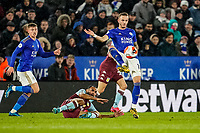 9th March 2020; King Power Stadium, Leicester, Midlands, England; English Premier League Football, Leicester City versus Aston Villa; James Maddison of Leicester City plays the ball over the top of the defense of Aston Villa