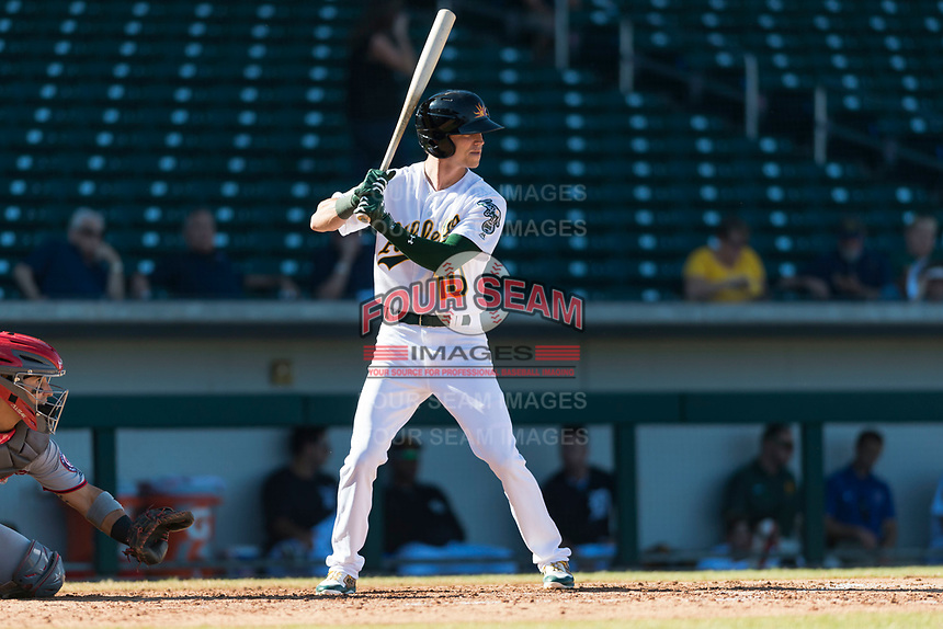 Mesa Solar Sox right fielder Skye Bolt (10), of the Oakland Athletics organization, at bat during an Arizona Fall League game against the Salt River Rafters at Sloan Park on October 30, 2018 in Mesa, Arizona. Salt River defeated Mesa 14-4 . (Zachary Lucy/Four Seam Images)