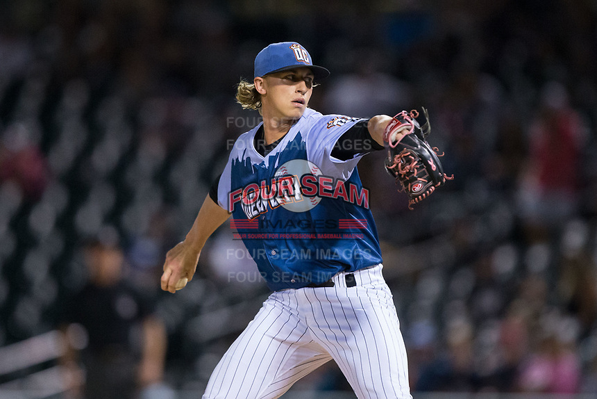 Queen City Knights starting pitcher Michael Kopech (32) in action against the Norfolk Tides at BB&T BallPark on September 1, 2017 in Charlotte, North Carolina.  (Brian Westerholt/Four Seam Images)