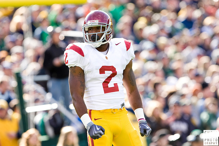 10/17/09 - South Bend, IN:  USC running back C.J. Gable gets ready to receive the opening kickoff against Notre Dame at Notre Dame Stadium on Saturday.  USC won the game 34-27 to extend its win streak over Notre Dame to 8 games.  Photo by Christopher McGuire.
