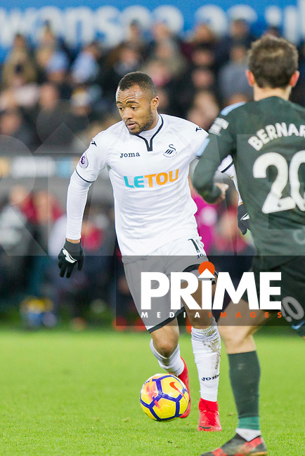 Jordan Ayew of Swansea City during the EPL - Premier League match between Swansea City and Manchester City at the Liberty Stadium, Swansea, Wales on 13 December 2017. Photo by Mark  Hawkins / PRiME Media Images.