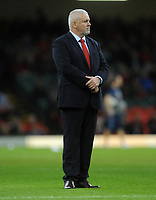 Wales' Head Coach Warren Gatland during the pre match warm up<br /> <br /> Photographer Ian Cook/CameraSport<br /> <br /> Under Armour Series Autumn Internationals - Wales v Scotland - Saturday 3rd November 2018 - Principality Stadium - Cardiff<br /> <br /> World Copyright &copy; 2018 CameraSport. All rights reserved. 43 Linden Ave. Countesthorpe. Leicester. England. LE8 5PG - Tel: +44 (0) 116 277 4147 - admin@camerasport.com - www.camerasport.com