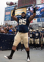 Pittsburgh defensive lineman Mick Williams gets introduced on Senior Day. The Cincinnati Bearcats defeated the Pittsburgh Panthers 45-44 in the final seconds of the River City Rivalry in a contest for the Big East Championship and a major bowl bid on December 5, 2009 at Heinz Field, Pittsburgh, Pennsylvania. .