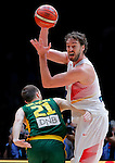 Spain's Pau Gasol (R) vies with Lithuania's Arturas Milaknis (L)  during European championship basketball final match between Spain and Lithuania on September 20, 2015 in Lille, France  (credit image & photo: Pedja Milosavljevic / STARSPORT)