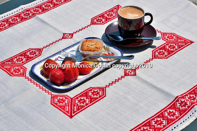 Coffee and pastries on a summer day in Lake Como, Italy