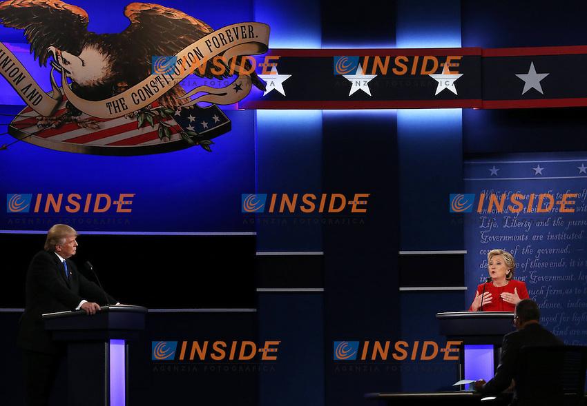 New York (Stati Uniti) 26/09/2016 - elezioni presidenziali americane / confronto televisivo candidati / foto Imago/Insidefoto <br /> nella foto: Donald Trump-Hillary Clinton <br /> ONLY ITALY