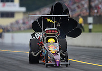Oct. 6, 2012; Mohnton, PA, USA: NHRA top alcohol dragster driver Mike Burns during the Auto Plus Nationals at Maple Grove Raceway. Mandatory Credit: Mark J. Rebilas-