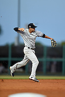 Tampa Yankees shortstop Tyler Wade (17) throws to first during a game against the Lakeland Flying Tigers on April 9, 2015 at Joker Marchant Stadium in Lakeland, Florida.  Tampa defeated Lakeland 2-0.  (Mike Janes/Four Seam Images)