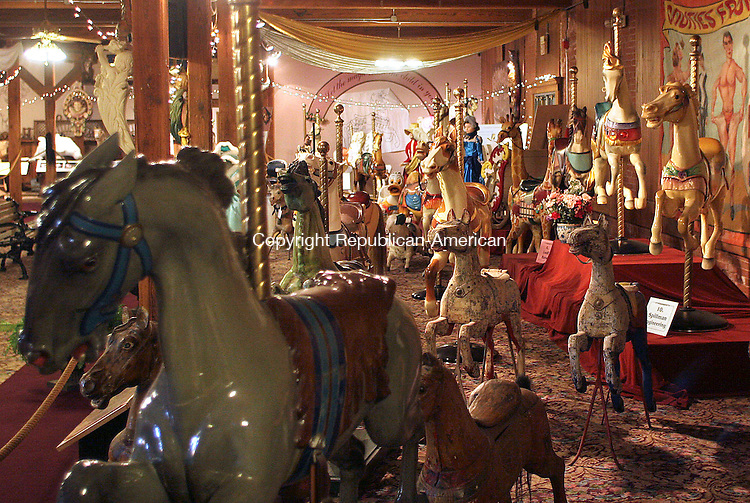 BRISTOL, CT- 30 MARCH 2007 - 033007JW05.jpg -- A display of carousel horses at the New England Carousel Museum. Jonathan Wilcox Republican-American