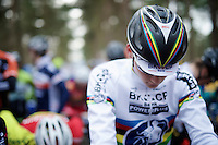 2015 CX World Champion Mathieu Van der Poel's (NLD/BKCP-Powerplus) first appearance in his elite rainbow jersey<br /> <br /> elite men's race<br /> Krawatencross <br /> bpost bank trofee 2015
