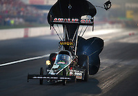 Aug. 30, 2013; Clermont, IN, USA: NHRA top fuel dragster driver Terry McMillen during qualifying for the US Nationals at Lucas Oil Raceway. Mandatory Credit: Mark J. Rebilas-