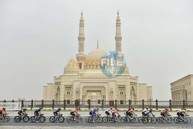 The peloton in action during Stage 5 of the 2019 UAE Tour, running 181km form Sharjah to Khor Fakkan, Dubai, United Arab Emirates. 28th February 2019.<br /> Picture: LaPresse/Fabio Ferrari | Cyclefile<br /> <br /> <br /> All photos usage must carry mandatory copyright credit (© Cyclefile | LaPresse/Fabio Ferrari)