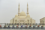 The peloton in action during Stage 5 of the 2019 UAE Tour, running 181km form Sharjah to Khor Fakkan, Dubai, United Arab Emirates. 28th February 2019.<br /> Picture: LaPresse/Fabio Ferrari | Cyclefile<br /> <br /> <br /> All photos usage must carry mandatory copyright credit (&copy; Cyclefile | LaPresse/Fabio Ferrari)