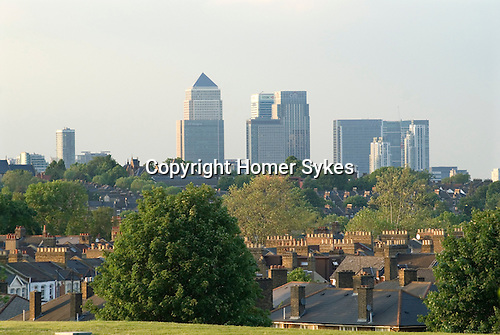 London Skyline Uk. Canary Wharf and  Canada Tower.