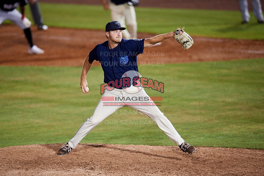Mobile BayBears relief pitcher Matt Custred (39) delivers a pitch during a game against the Chattanooga Lookouts on May 5, 2018 at Hank Aaron Stadium in Mobile, Alabama.  Chattanooga defeated Mobile 11-5.  (Mike Janes/Four Seam Images)