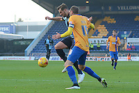 Wycombe Wanderers Paul Hayes brings the ball under control watched by Mansfield Town's Nicky Hunt during the Sky Bet League 2 match between Mansfield Town and Wycombe Wanderers at the One Call Stadium, Mansfield, England on 31 October 2015. Photo by Garry Griffiths.