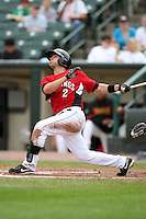 May 2, 2010:  Jason Repko of the Rochester Red Wings at bat during a game vs. the Durham Bulls at Frontier Field in Rochester, NY.  Rochester defeated Durham in extra innings by the score of 7-6.  Photo By Mike Janes/Four Seam Images