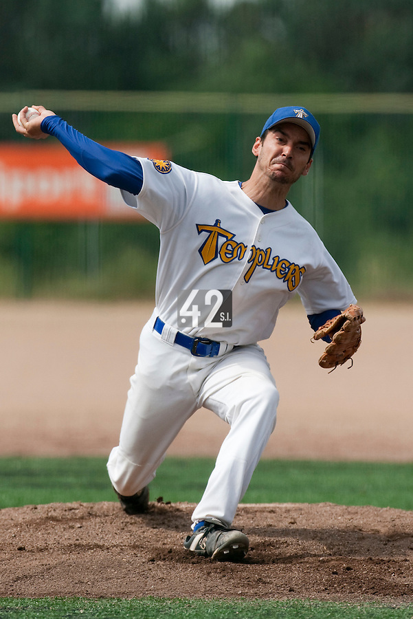 23 May 2009: Samuel Meurant of Senart pitches against Savigny during the 2009 challenge de France, a tournament with the best French baseball teams - all eight elite league clubs - to determine a spot in the European Cup next year, at Montpellier, France. Savigny wins 4-1 over Senart.