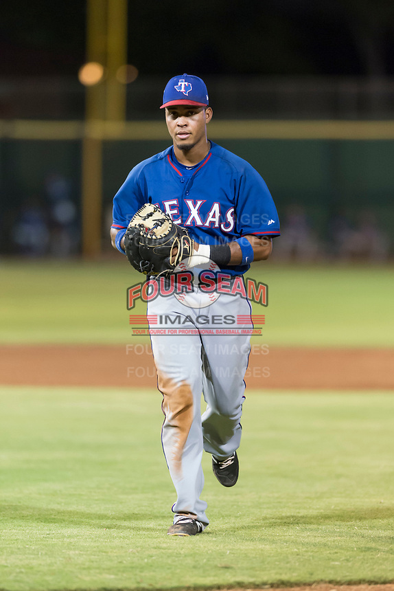 AZL Rangers first baseman Fernando Valdez (46) during an Arizona League game against the AZL Giants Black at Scottsdale Stadium on August 4, 2018 in Scottsdale, Arizona. The AZL Giants Black defeated the AZL Rangers by a score of 6-3 in the second game of a doubleheader. (Zachary Lucy/Four Seam Images)