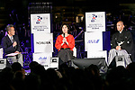 (L to R) Amon Miyamoto, dancer Tamiyo Kusakari and kabuki star Ichikawa Ebizo, speak during the 1000 Days to Go! cultural event in front of Tokyo Station on November 26, 2017, Tokyo, Japan. Japanese celebrities attended the event marking the 1000-day countdown to the 2020 Tokyo Olympics. (Photo by Rodrigo Reyes Marin/AFLO)