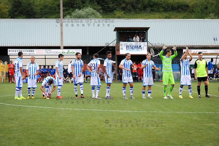 The Pescara team during the withdrawal preseason Serie A; match friendly between Pescara vs San Nicolò, on July 28, 2016. Photo: Adamo Di Loreto/BuenaVista*photo