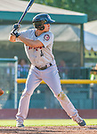1 September 2014: Tri-City ValleyCats infielder Mott Hyde in action against the Vermont Lake Monsters at Centennial Field in Burlington, Vermont. The ValleyCats defeated the Lake Monsters 3-2 in NY Penn League action. Mandatory Credit: Ed Wolfstein Photo *** RAW Image File Available ****