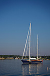 Sailboat in the harbor,  Boothbay Harbor,Maine, USA