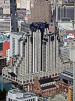 aerial photograph of the San Francisco Marriott hotel, Zeidler Architecture Inc., San Francisco, California