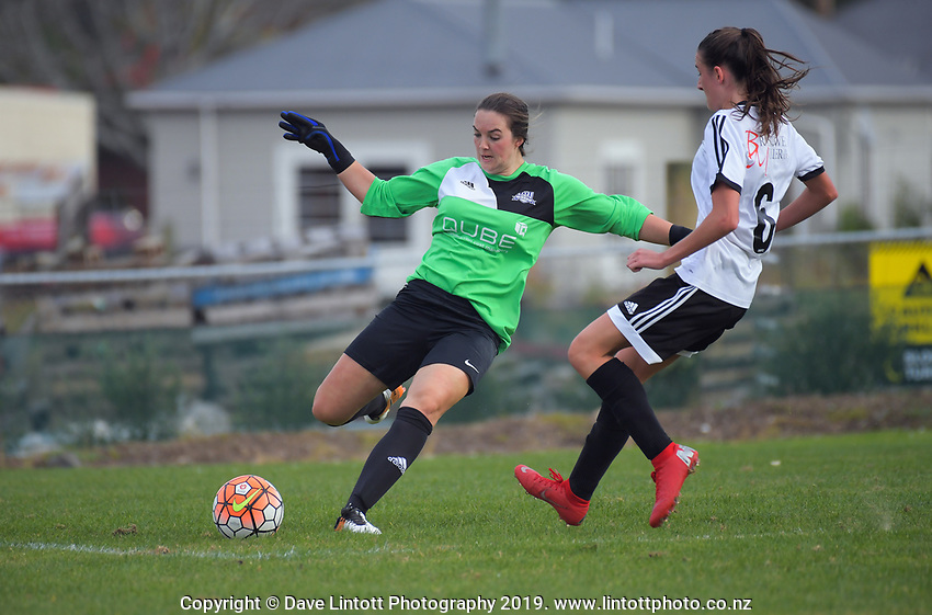 Queenstown keeper Lydia Warrington clears during the Kate Sheppard Cup women's  football match between Roslyn Wakari and Queenstown Rovers at Ellis Park in Dunedin, New Zealand on Saturday, 11 May 2019. Photo: Dave Lintott / lintottphoto.co.nz