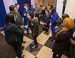 Dr. Gabriel Esteban, president-elect of DePaul University, and his wife Josephine, visit with members of the university community Thursday, February 16, 2017, as he attends a reception at the DePaul Center on the Loop Campus. Dr. Esteban was named the university's 12th president during a day of welcoming events at both the Loop and Lincoln Park Campuses. (DePaul University/Jamie Moncrief)
