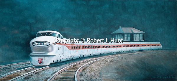 "The 1950's Aerotrain rounding the entry curve to Pennsylvania Railroad's Rockville Bridge over the Susquehanna River above Harrisburg, PA. Oil on canvas, 14"" x 30""."