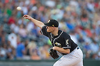 Charlotte Knights starting pitcher Erik Johnson (39) delivers a pitch to the plate against the Lehigh Valley IronPigs at BB&T BallPark on May 30, 2015 in Charlotte, North Carolina.  The IronPigs defeated the Knights 1-0.  (Brian Westerholt/Four Seam Images)