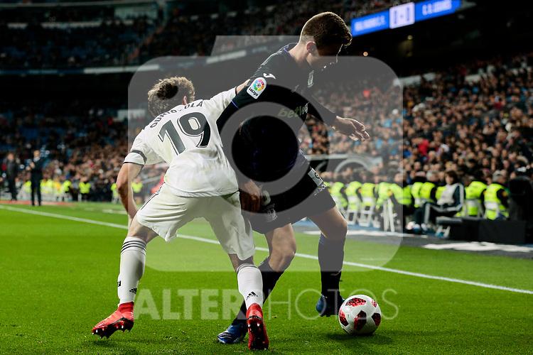Real Madrid's Alvaro Odriozola and CD Leganes's Gerard Gumbau during Copa Del Rey match between Real Madrid and CD Leganes at Santiago Bernabeu Stadium in Madrid, Spain. January 09, 2019. (ALTERPHOTOS/A. Perez Meca)