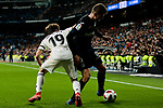 Real Madrid's Alvaro Odriozola and CD Leganes's Gerard Gumbau during Copa Del Rey match between Real Madrid and CD Leganes at Santiago Bernabeu Stadium in Madrid, Spain. January 09, 2019. (ALTERPHOTOS/A. Perez Meca)