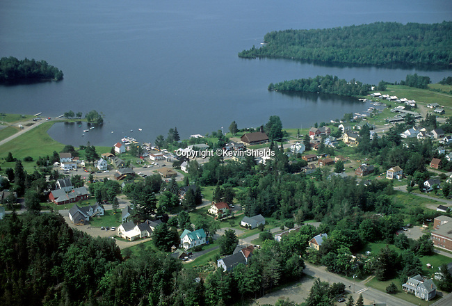 Aerial view of Rangeley, Maine, USA