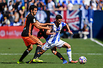 Omar (R) of Club Deportivo Leganes fights for the ball with Dani Parejo (L) and Gaya of Valencia CF in action during their La Liga match between Club Deportivo Leganes and Valencia CF at the Butarque Municipal Stadium on 25 September 2016 in Madrid, Spain. Photo by Diego Gonzalez Souto / Power Sport Images