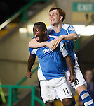 Nigel Hasselbaink celebrates his goal with Liam Craig