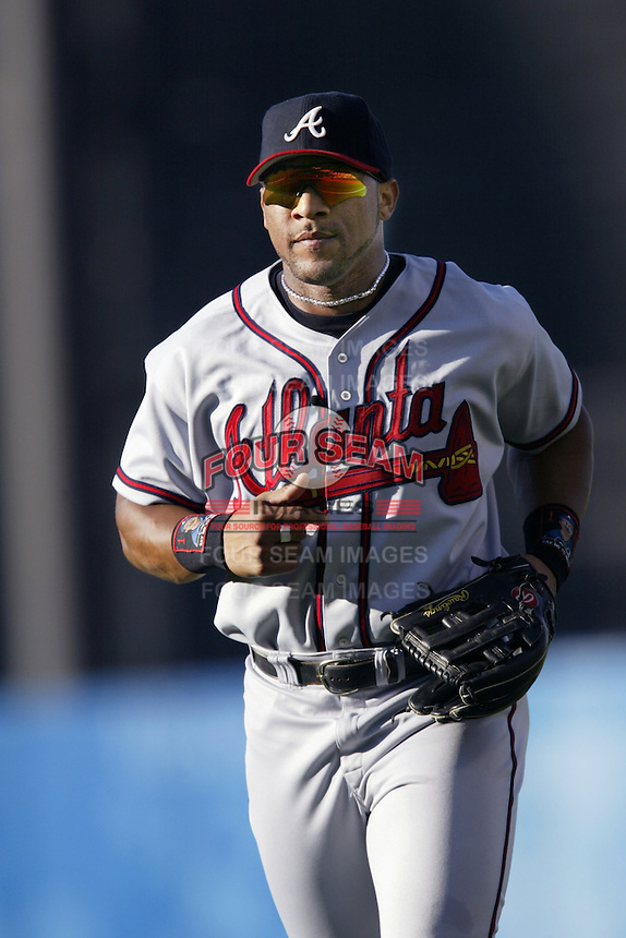Gary Sheffield of the Atlanta Braves before a 2002 MLB season game against the Los Angeles Dodgers at Dodger Stadium, in Los Angeles, California. (Larry Goren/Four Seam Images)