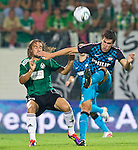18.08.2011, Keine-Sorgen-Arena, Ried, AUT, UEFA EL, PLAYOFF, SV RIED (AUT) vs PSV EINDHOVEN (NED), Hinspiel, im Bild Stefan Lexa (SV Ried, #8) vs Kevin Strootman (PSV Eindhoven, #6) härteeinlage // during the UEFA Europaleague, 1st Leg Playoff Match, SV Ried against PSV Eindhoven at Keine-Sorgen-Arena, Ried, Austria on 2011-08-18, EXPA Pictures © 2011, PhotoCredit: EXPA/ J. Feichter