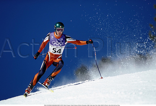 PAUL PATRICK SCHWARZACHER-JOYCE, Men's Super-Giant Slalom, Winter Olympics 2002, Salt Lake City, Utah, 020216. Photo: Glyn Kirk/Action Plus....skiing.ski.skier.skiers.alpine skiing.winter sport.winter sports.wintersport.wintersports.olympic games